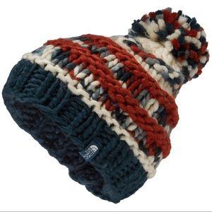 The North Face Nannie Knit Beanie(red/white/blue)